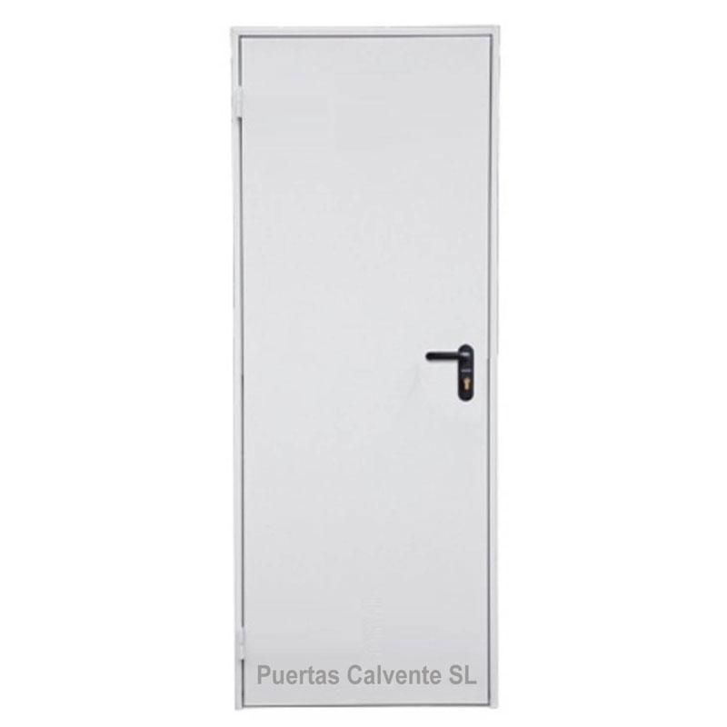 Puerta Galvanizada Lisa Acabado PVC blanca
